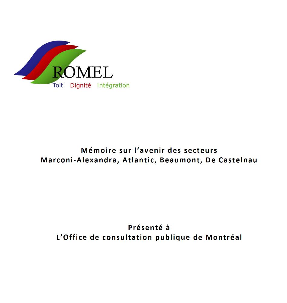 OCPM-Avril 2013 : Mémoire sur l'avenir des secteurs Marconi-Alexandra, Atlantic, Beaumont, De Castelnau (avril 2013)