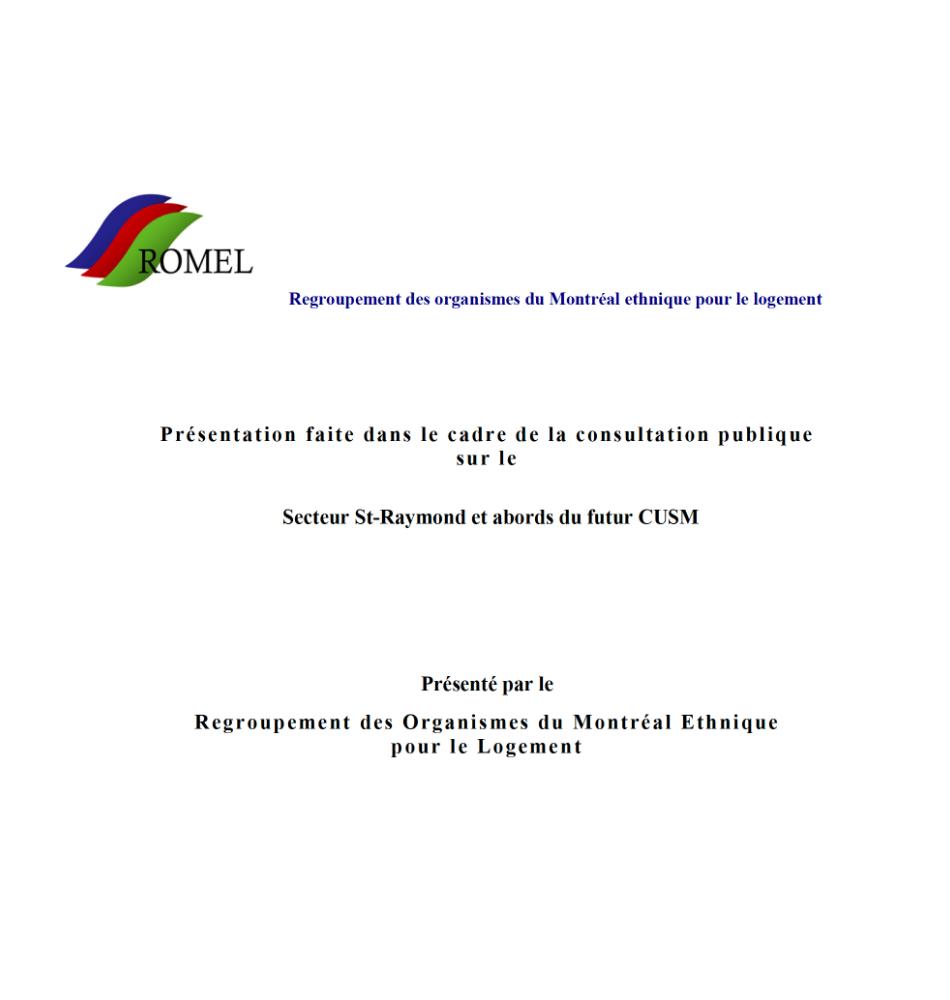 OCPM-Mars 2013 : Mémoire sur l'avenir du Secteur St-Raymond et abords du futur CUSM (mars 2013)